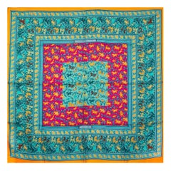 Hermes turquoise CHASSE EN INDE 90 silk twill Scarf