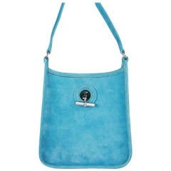 HERMES turquoise Doblis suede VESPA TPM Shoulder Bag