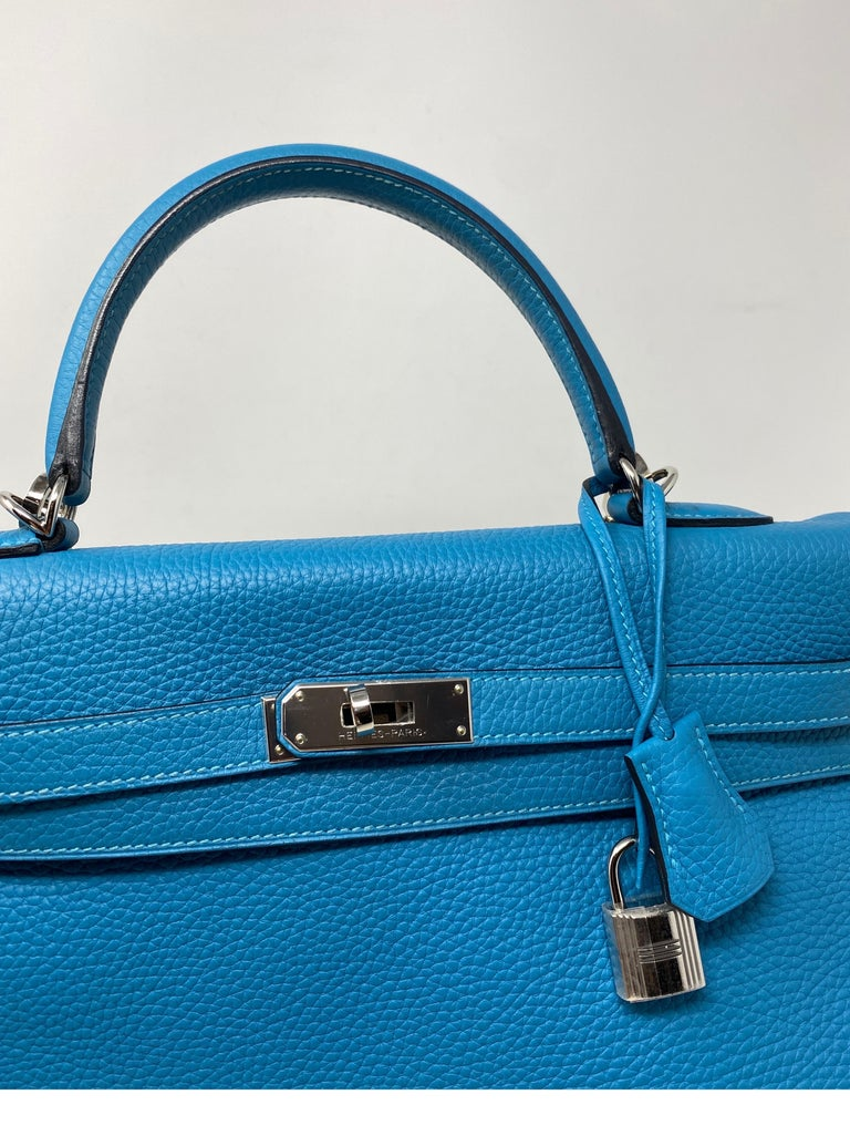 Hermes Turquoise Kelly II Retourne 35 Bag For Sale 5