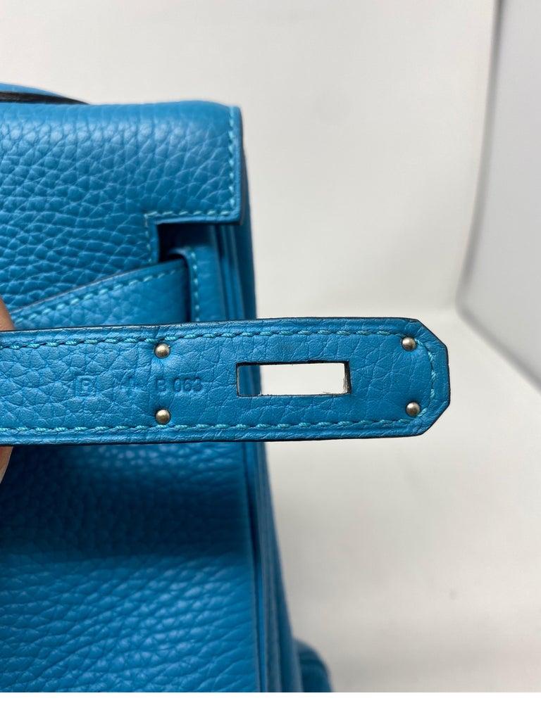 Hermes Turquoise Kelly II Retourne 35 Bag For Sale 6