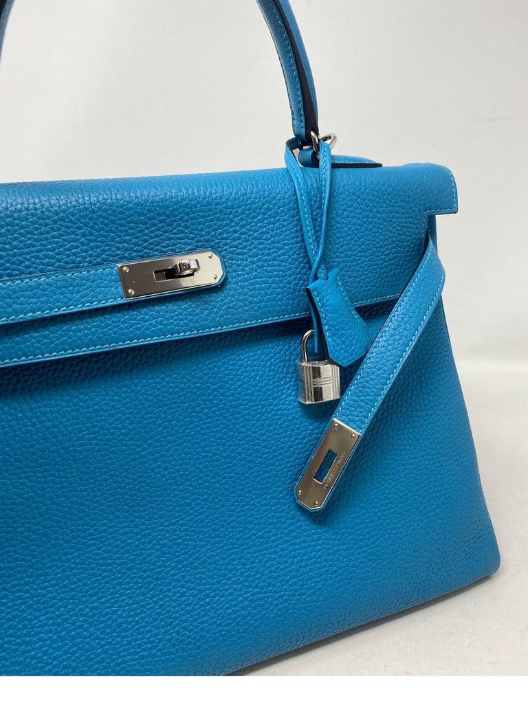 Hermes Turquoise Kelly II Retourne 35 Bag For Sale 7