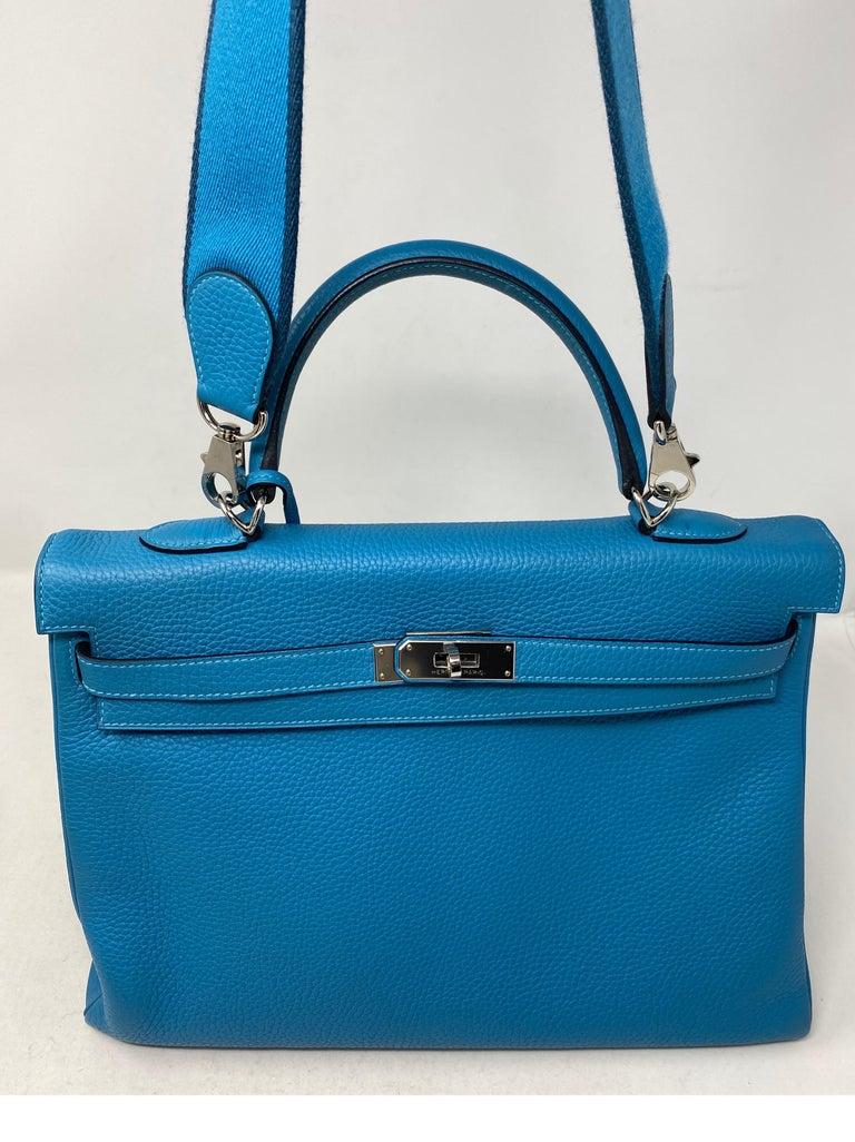 Hermes Turquoise Kelly II Retourne 35 Bag For Sale 8