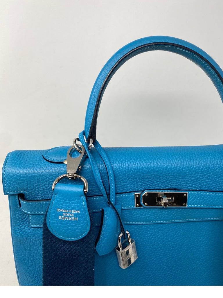 Hermes Turquoise Kelly II Retourne 35 Bag For Sale 9