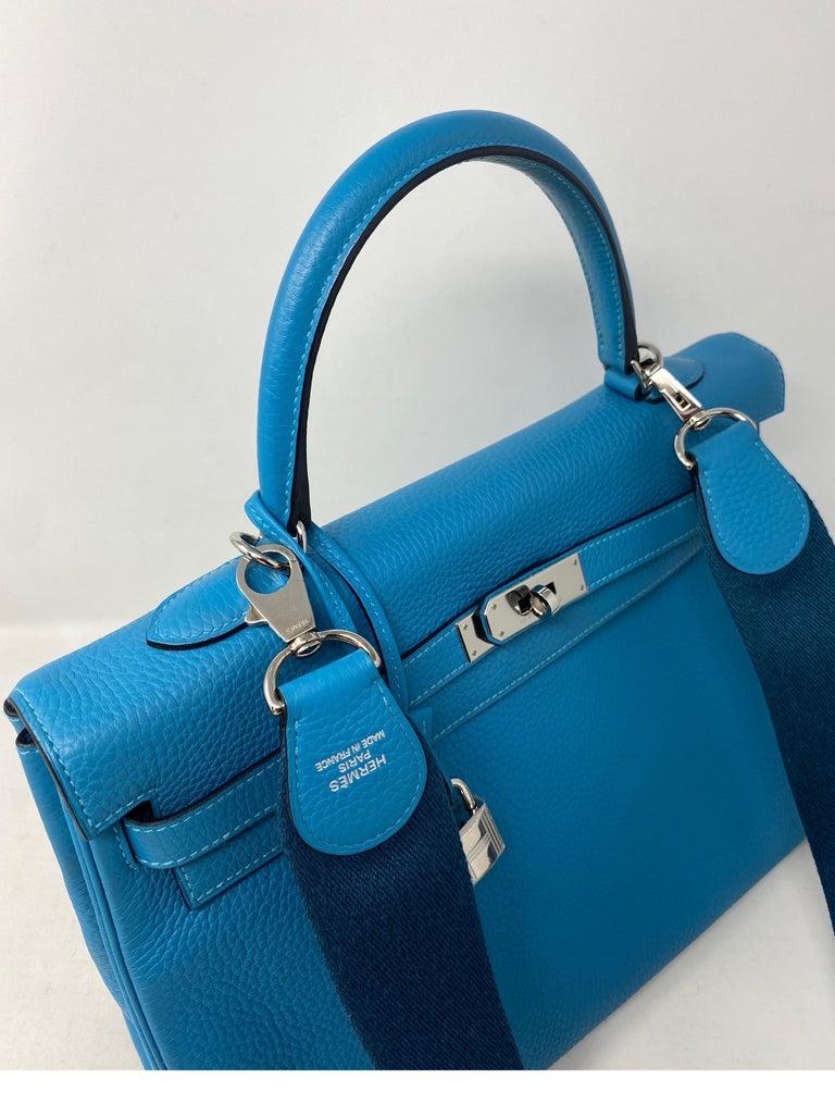 Hermes Turquoise Kelly II Retourne 35 Bag For Sale 10
