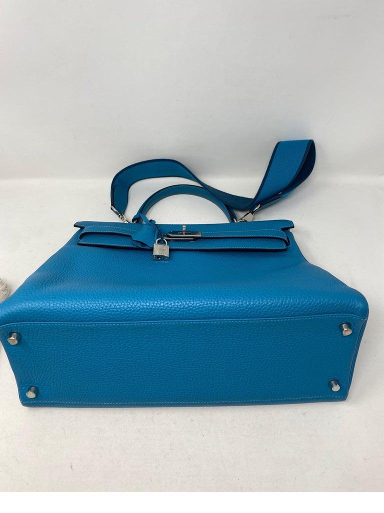 Hermes Turquoise Kelly II Retourne 35 Bag For Sale 11