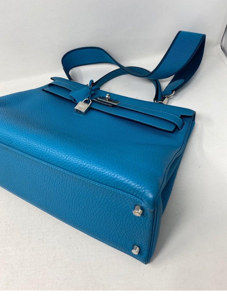 Hermes Turquoise Kelly II Retourne 35 Bag For Sale 12