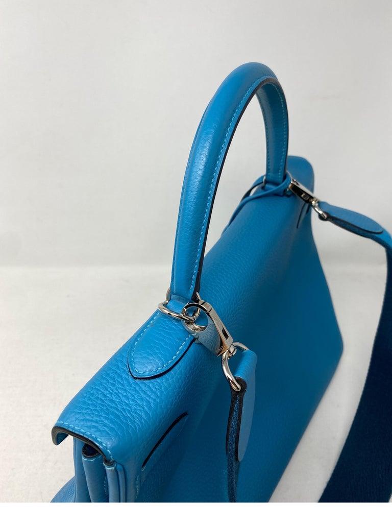 Hermes Turquoise Kelly II Retourne 35 Bag For Sale 13