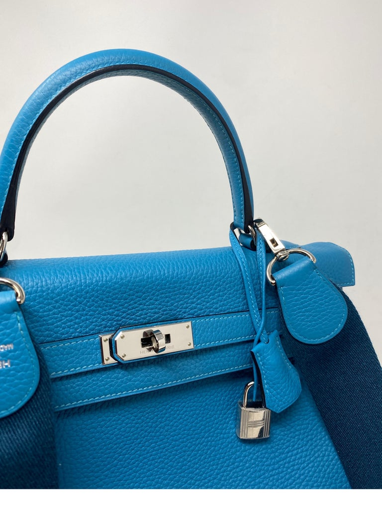 Blue Hermes Turquoise Kelly II Retourne 35 Bag For Sale
