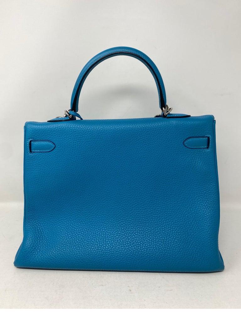 Women's or Men's Hermes Turquoise Kelly II Retourne 35 Bag For Sale