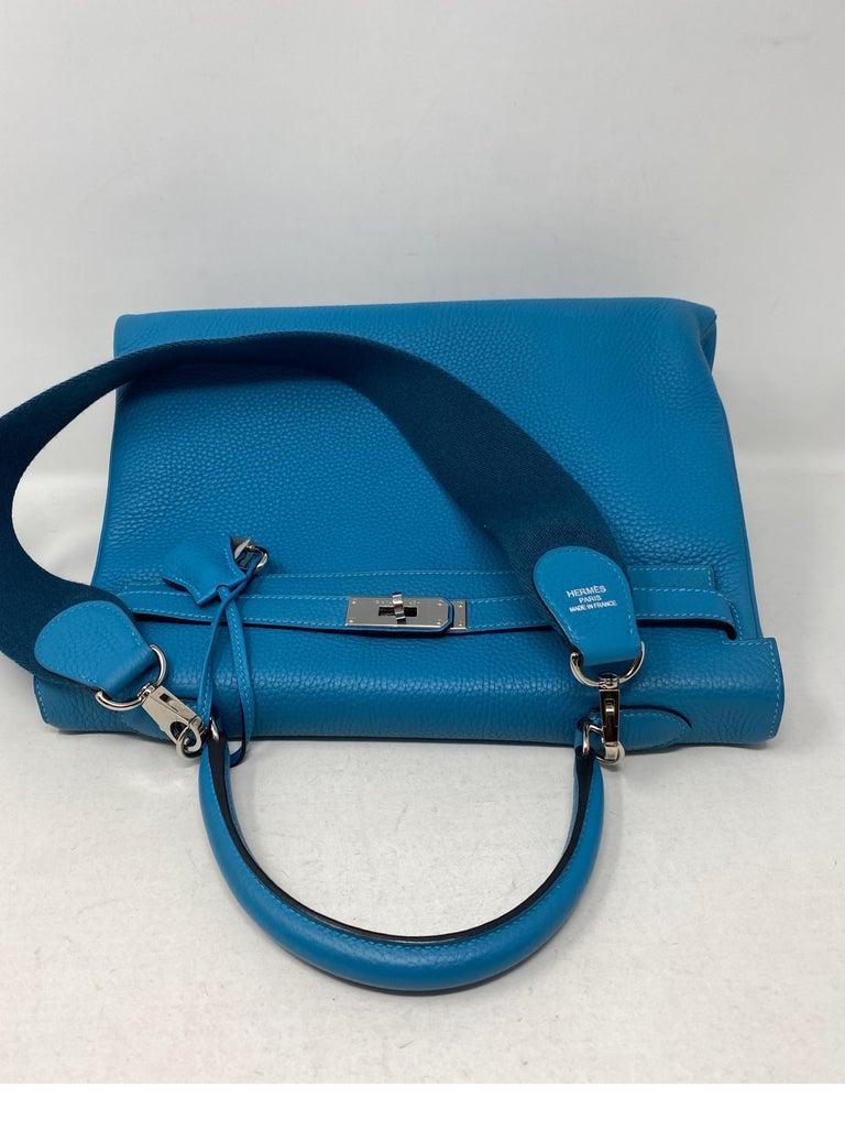 Hermes Turquoise Kelly II Retourne 35 Bag For Sale 1