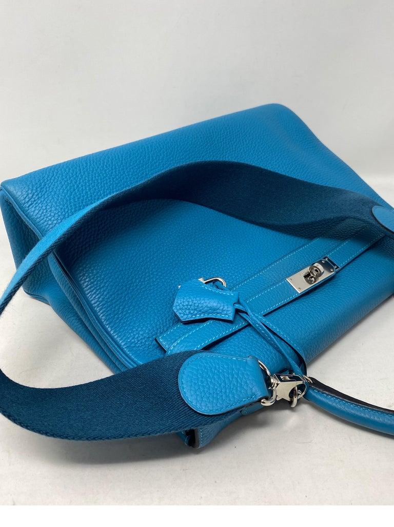 Hermes Turquoise Kelly II Retourne 35 Bag For Sale 2