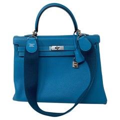 Hermes Turquoise Kelly II Retourne 35 Bag