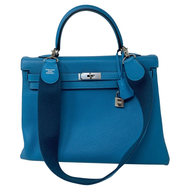 Hermes Turquoise Kelly II Retourne 35 Bag For Sale