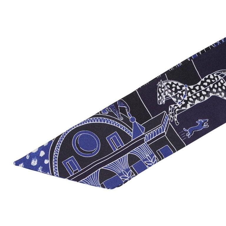 Hermes Twilly Animapolis Marine and Royal Bleu Set of 2 New w/Box For Sale 5