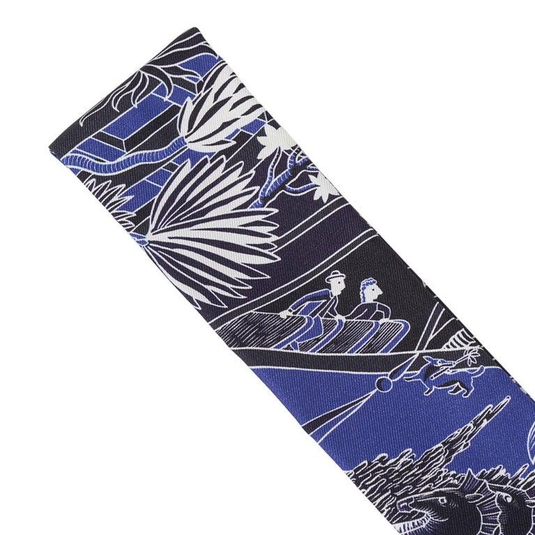 Hermes Twilly Animapolis Marine and Royal Bleu Set of 2 New w/Box For Sale 6