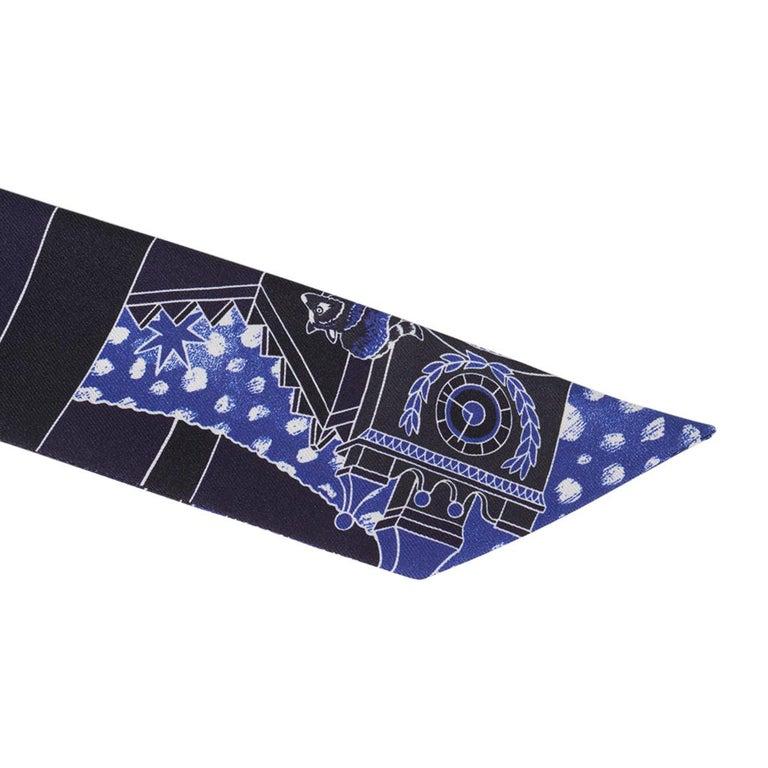 Hermes Twilly Animapolis Marine and Royal Bleu Set of 2 New w/Box For Sale 3