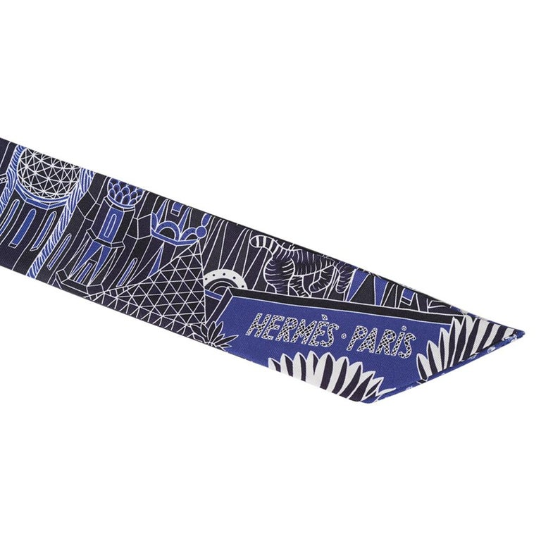 Hermes Twilly Animapolis Marine and Royal Bleu Set of 2 New w/Box For Sale 4
