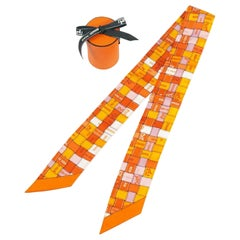 HERMES Twilly Bolduc ribbon Womens scarf orange