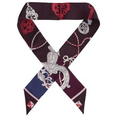 Hermes Twilly Les Cles Burgundy / Pink / White / Blue New w/Box