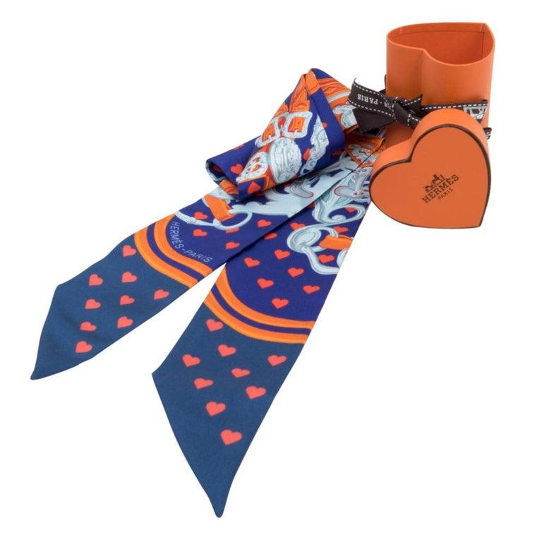 6ffcad41eb29 Hermes Twilly Love Heart Brides De Gala Ultra Violet Marine Orange For Sale