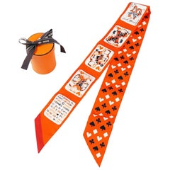 HERMES Twilly playing card pattern Jeu De Cartes Womens scarf orange x white