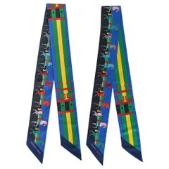 Hermes Twilly Rocabar Silk Scarf Blue Roi Jaune Vert Set of 2 New w/Box