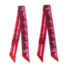 Hermes Twilly Rocabar Silk Scarf Rose Vif /Bordeaux Set of 2 New w/ Box