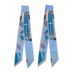 Hermes Twilly Sea Surf and Fun Gris / Ciel / Cobalt Set of 2 by Filipe Jardim