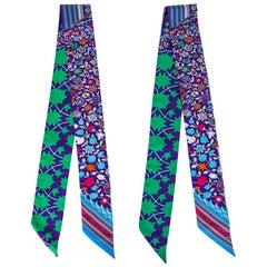 Hermes Twilly Tapis Persan Fresh Green Blues Fuschia Silk Scarf Set of 2