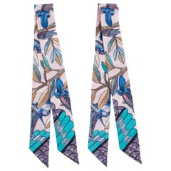 Hermes Twilly Tree Of Song Rose Pale Turquoise Set of 2 New Scarf