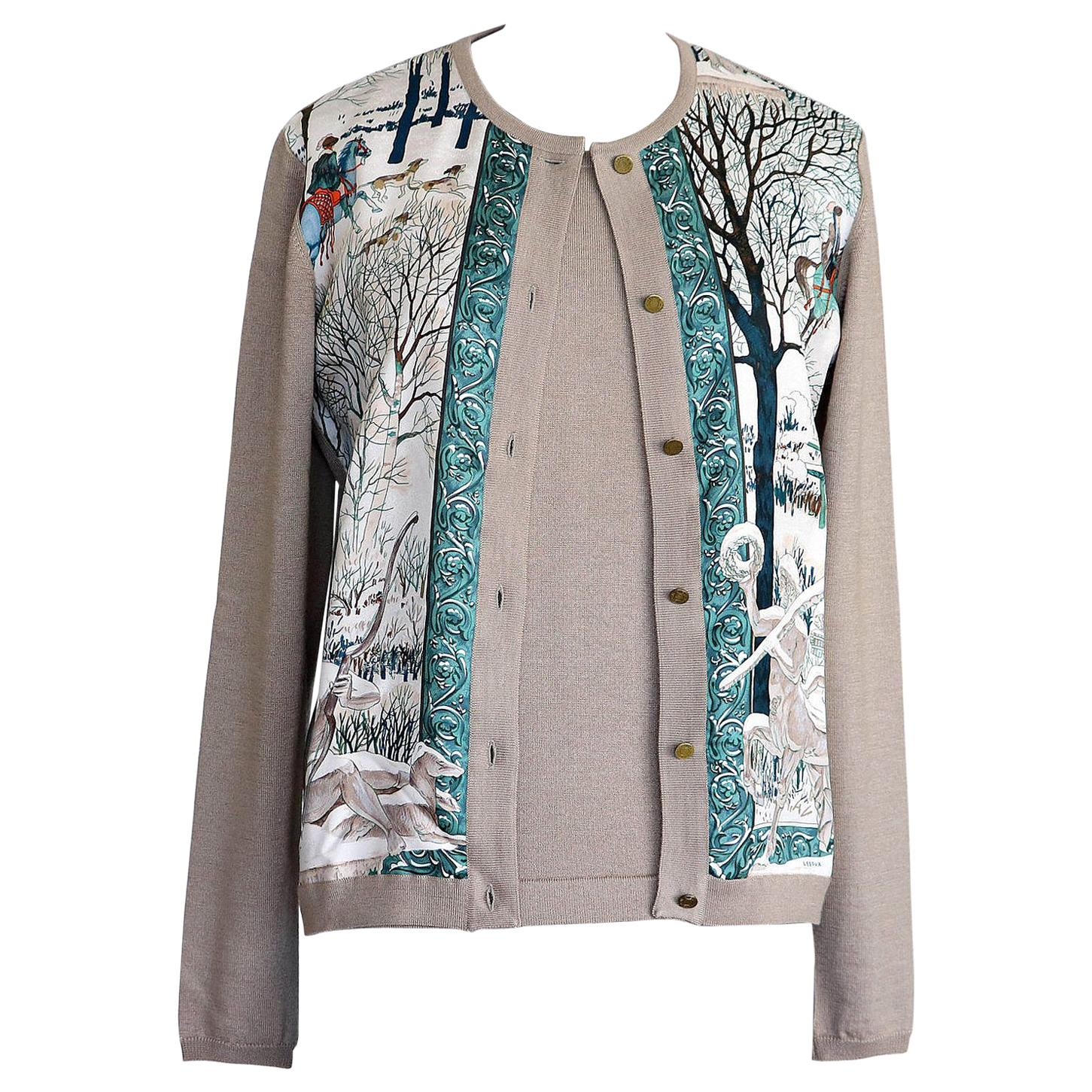 Hermes Twinset L'Hiver Neutral Taupe Cashmere / Silk Signed Print  36 /  4