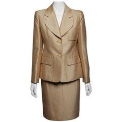 Hermes Two Piece Silk Faille Skirt Suit Ensemble