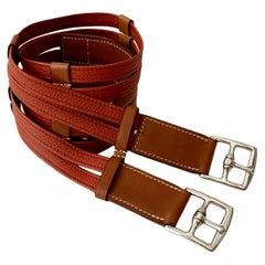 Hermès Two Tone Barenia and Togo Leather Double Etrivière Corset Belt