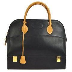 Hermes Two-Tone Black Cognac Leather Gold Top Handle Satchel Travel Weekend Tote