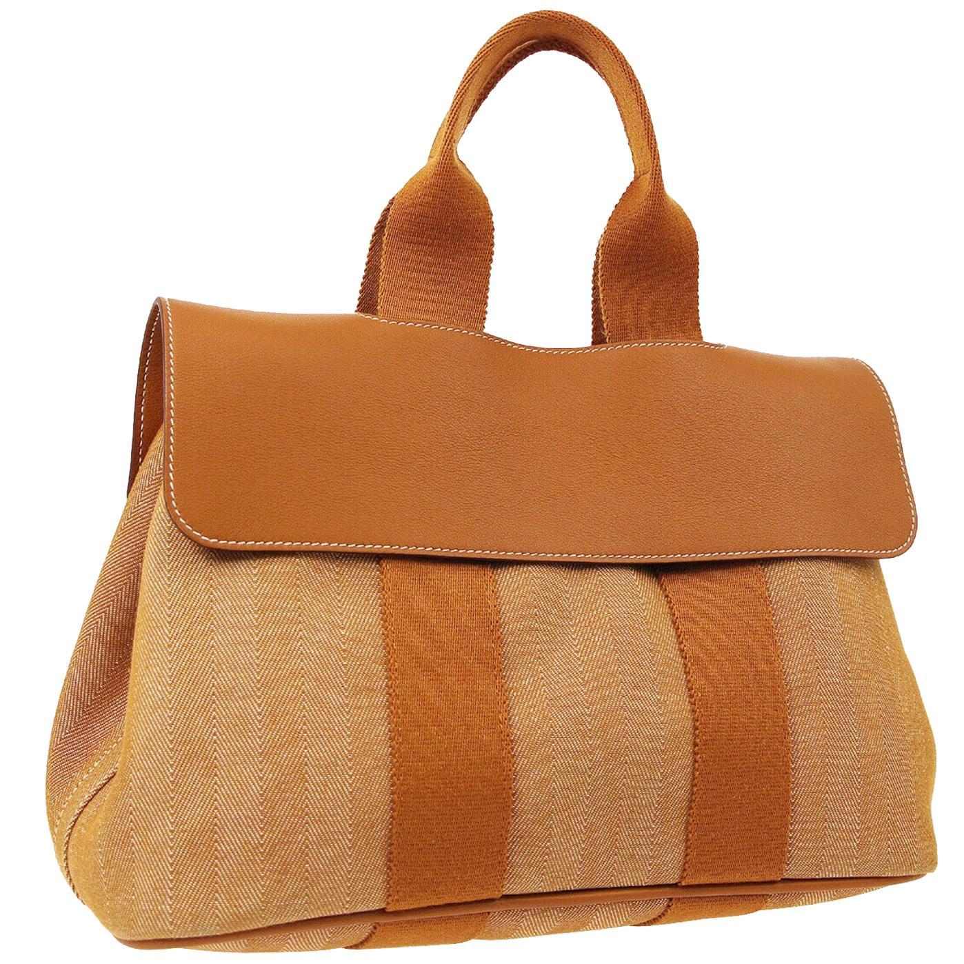 Hermes Two Tone Cognac Canvas Fabric Men's Women's Carryall Travel Tote Bag