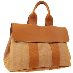 Hermes Two Tone Cognac Canvas Fabric Men's Women's Carryall Travel Tote Bag