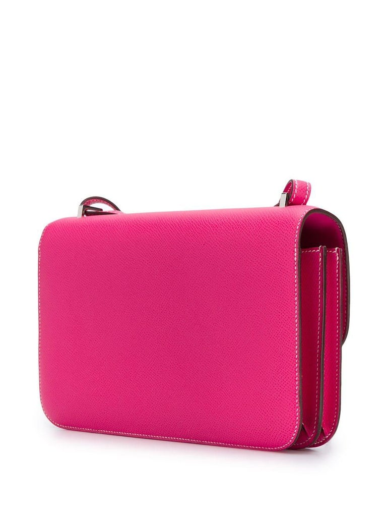 Hermès Tyrien Pink Epsom Leather Constance Elan Bag In Good Condition For Sale In London, GB