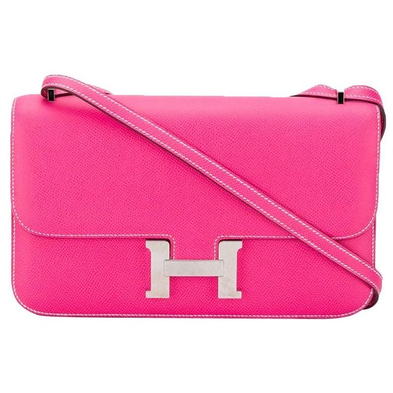 Hermès Tyrien Pink Epsom Leather Constance Elan Bag For Sale