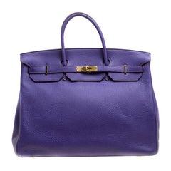 Hermes Ultra Violet Clemence Leather Gold Hardware Birkin 40 Bag