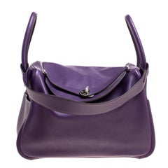 Hermes Ultraviolet Chevre de Coromandel Leather Palladium Lindy 34 Bag