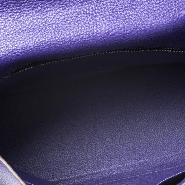 Hermes Ultraviolet Clemence Leather Palladium Hardware Kelly Retourne 35 Bag For Sale 5