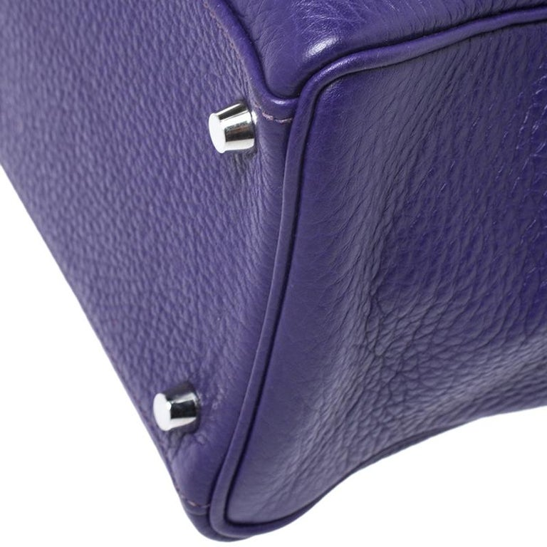 Hermes Ultraviolet Clemence Leather Palladium Hardware Kelly Retourne 35 Bag For Sale 5