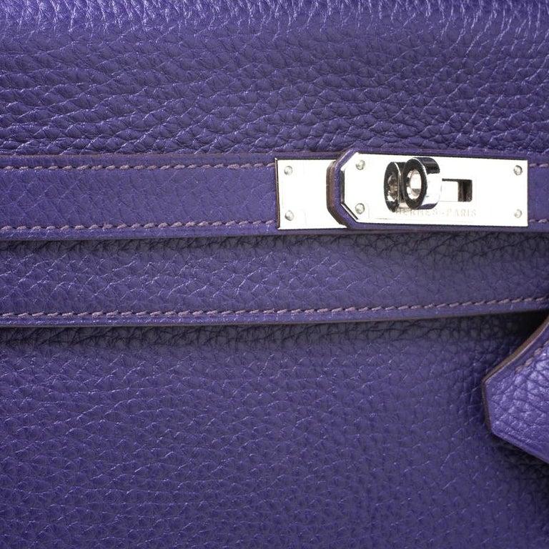 Hermes Ultraviolet Clemence Leather Palladium Hardware Kelly Retourne 35 Bag For Sale 6