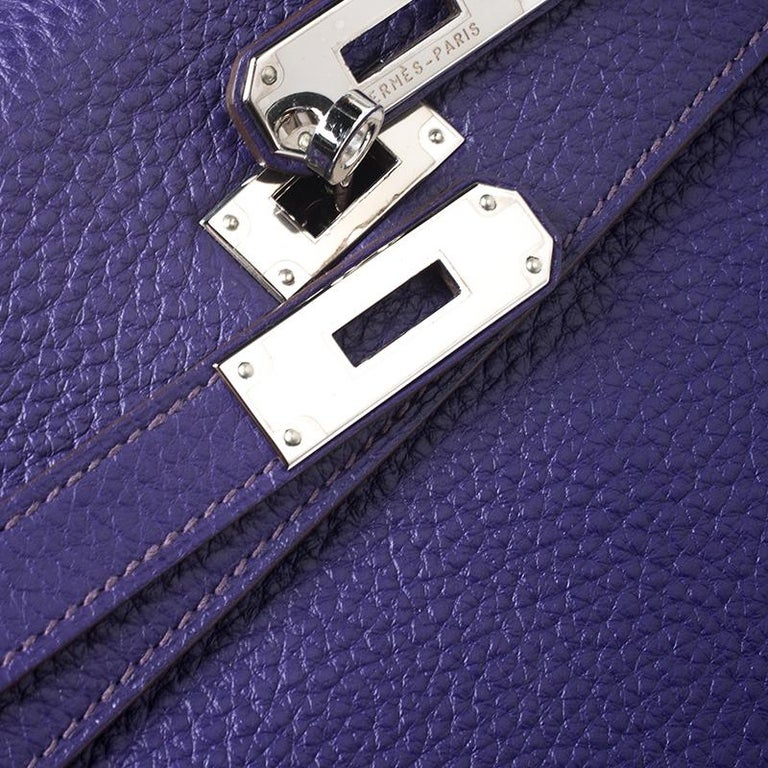 Hermes Ultraviolet Clemence Leather Palladium Hardware Kelly Retourne 35 Bag For Sale 6