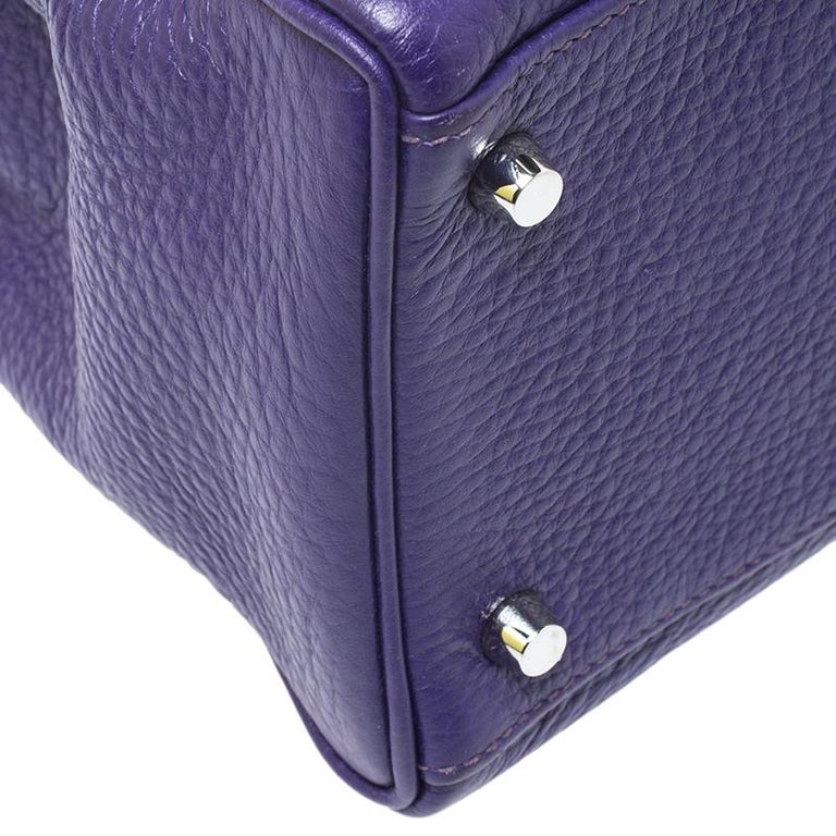 Hermes Ultraviolet Clemence Leather Palladium Hardware Kelly Retourne 35 Bag For Sale 7