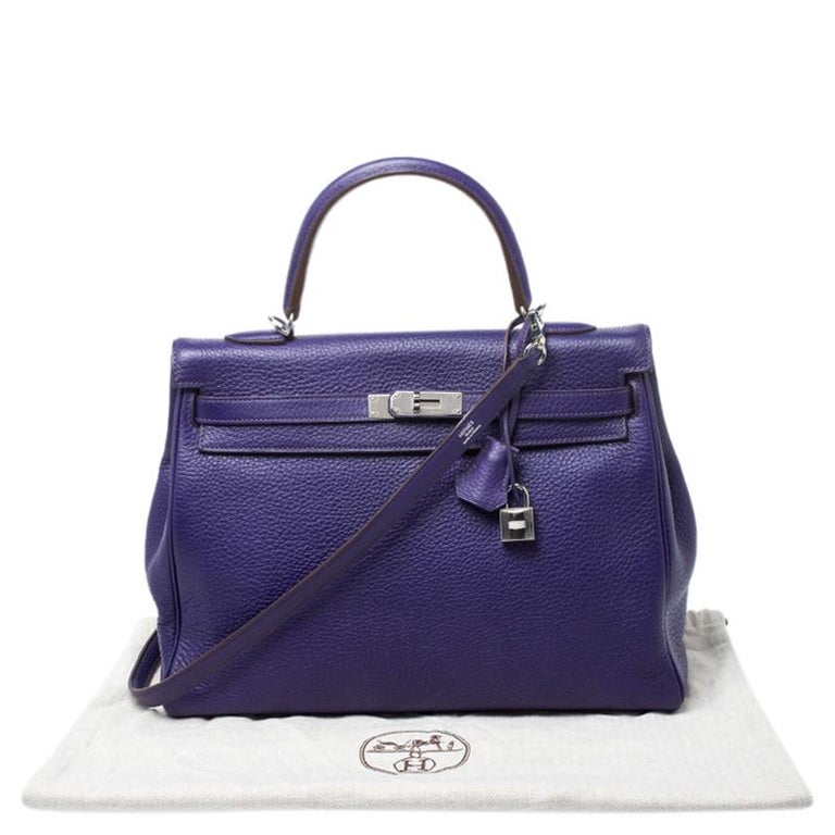 Hermes Ultraviolet Clemence Leather Palladium Hardware Kelly Retourne 35 Bag For Sale 8