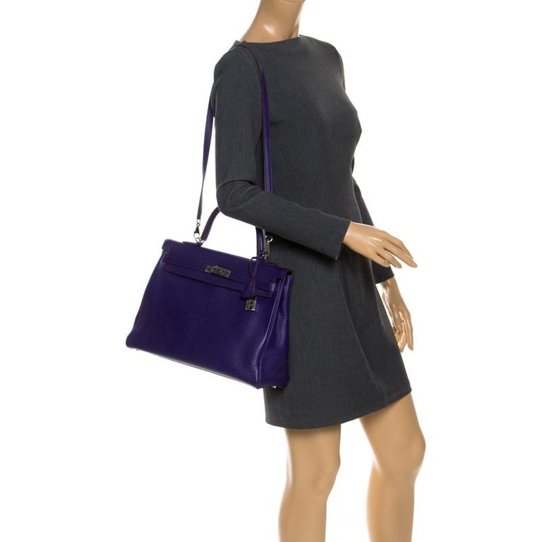 Purple Hermes Ultraviolet Clemence Leather Palladium Hardware Kelly Retourne 35 Bag For Sale