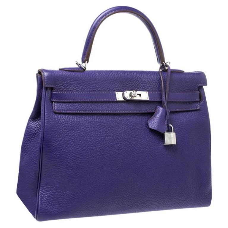 Hermes Ultraviolet Clemence Leather Palladium Hardware Kelly Retourne 35 Bag In Excellent Condition For Sale In Dubai, Al Qouz 2