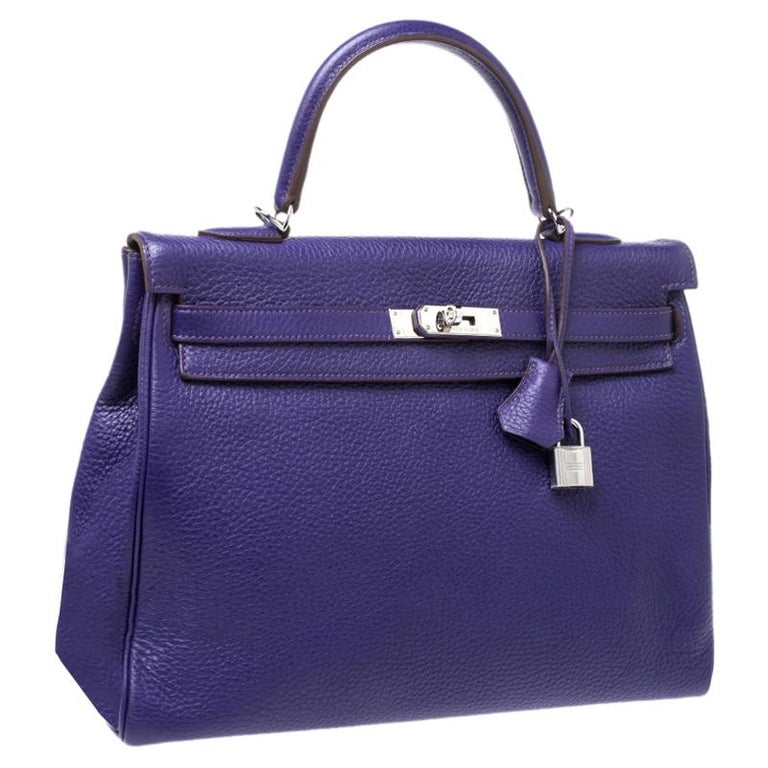 Hermes Ultraviolet Clemence Leather Palladium Hardware Kelly Retourne 35 Bag In Excellent Condition For Sale In Dubai, Al Qouz 2