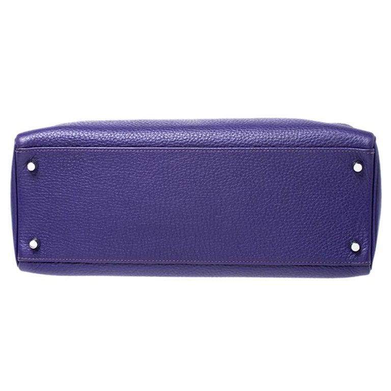 Women's Hermes Ultraviolet Clemence Leather Palladium Hardware Kelly Retourne 35 Bag For Sale